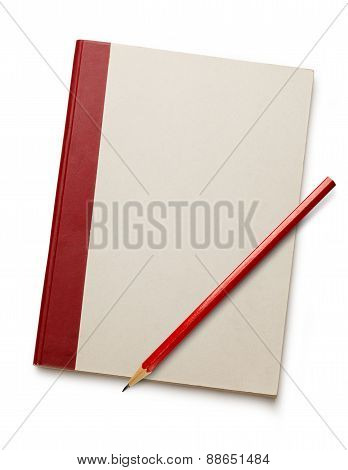 White Blank Notebook With Red Pencil