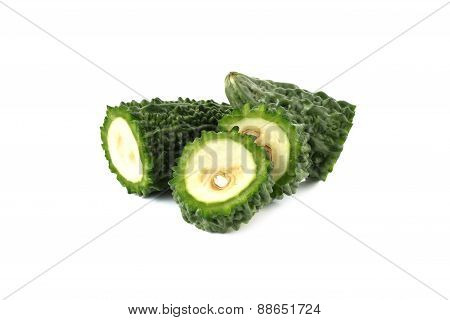 Green Bitter Gourd On White Background