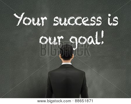 Businessman Looking At Your Success Is Our Goal Words