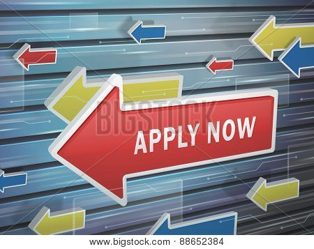 Moving Red Arrow Of Apply Now Words