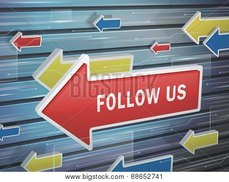 Moving Red Arrow Of Follow Us Words