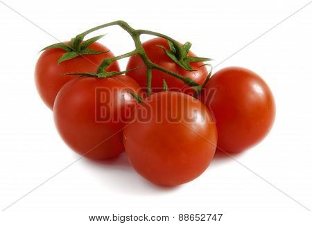 Cherry Tomatoes With A Stalk On A White Background.