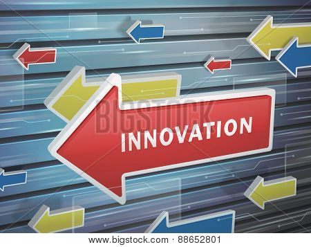 Moving Red Arrow Of Innovation Word