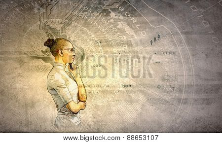 Portrait of young thoughtful woman in grunge style