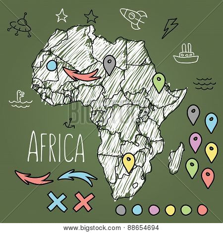 Doodle Africa map on green chalkboard with pins and extras vector illustration