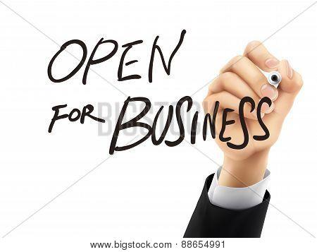 Open For Business Written By 3D Hand