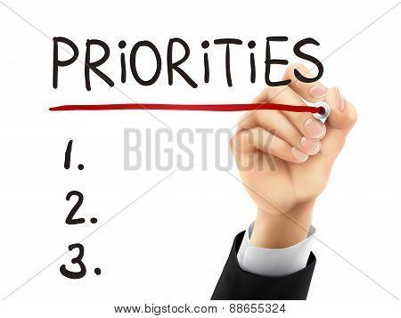 Priorities Written By 3D Hand