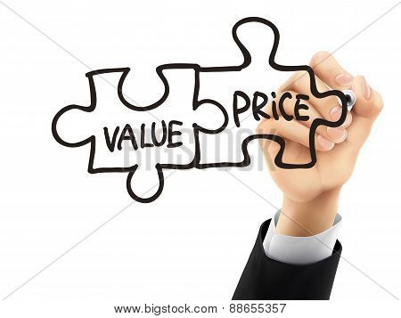 Value And Price Written By 3D Hand