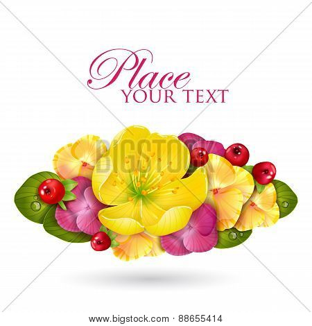 Floristic composition of yellow lotus flower, leaves and berries