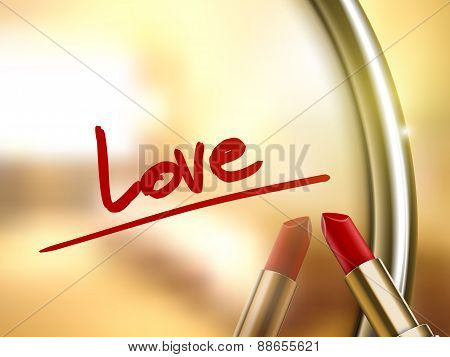 Love Word Written By Red Lipstick