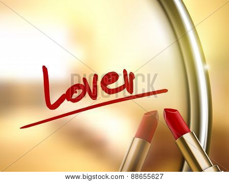Lover Word Written By Red Lipstick
