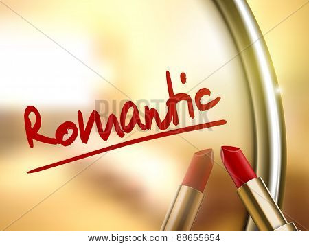 Romantic Word Written By Red Lipstick