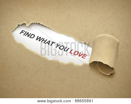 Find What You Love Words Behind Torn Paper
