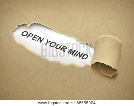 Open Your Mind Words Behind Torn Paper