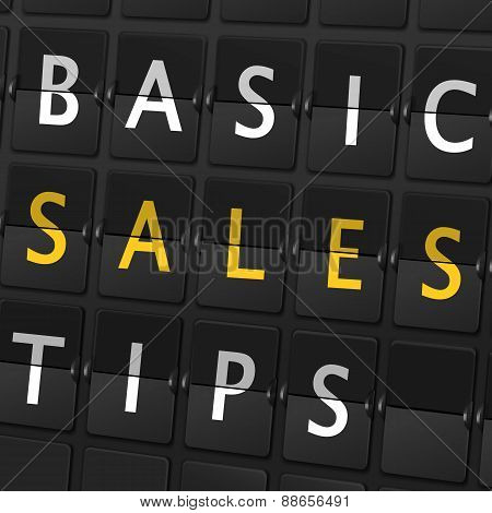 Basic Sales Tips Words On Airport Board