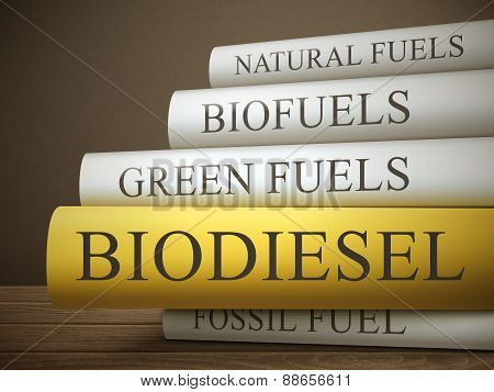Book Title Of Biodiesel Isolated On A Wooden Table