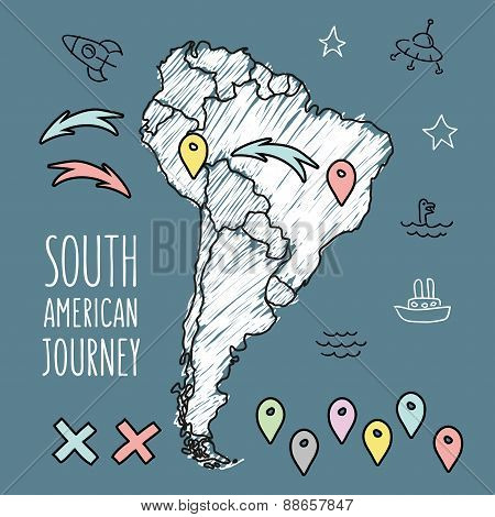 Doodle South America map on navy blue chalkboard with pins and extras vector illustration