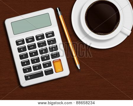 Coffee Calculator And Pencil Lying On Wooden Desk In Office