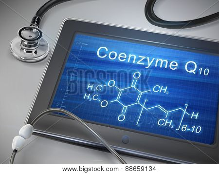 Coenzyme Q10 Words Display On Tablet