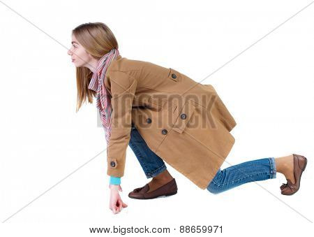 side view woman in cloak start position. Standing young girl in parka. Rear view people collection.  backside view of person.  Isolated over white background.