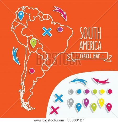 Linear style hand drawn travel map of South America with pins vector illustration
