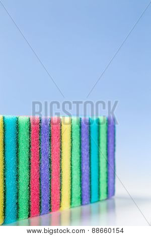 Unused Colorful Sponges For Washing Dishes