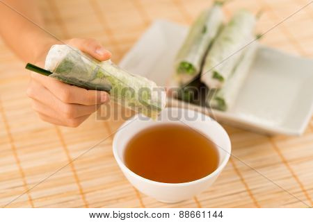 Dipping Rice Paper Rolls
