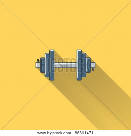 Dumbbell flat icon with long shadow.