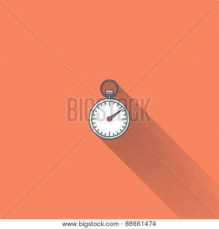 Stopwatch flat icon with long shadow.