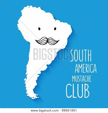 Fun mustache club cartoon South America hand drawn map vector illustration background