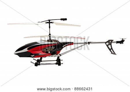 Model radio-controlled helicopter on a white background.
