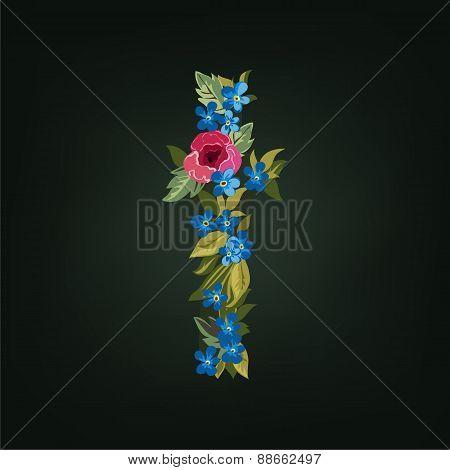 t letter. Flower  alphabet. Colorful font. Lowercase.