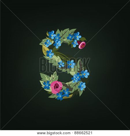 s letter. Flower  alphabet. Colorful font. Lowercase.