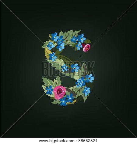s letter. Flower  alphabet. Colorful font. Lowercase.