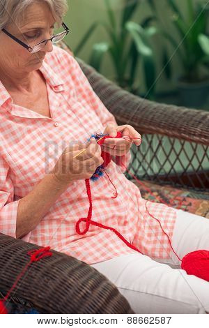 Crocheting Senior Woman
