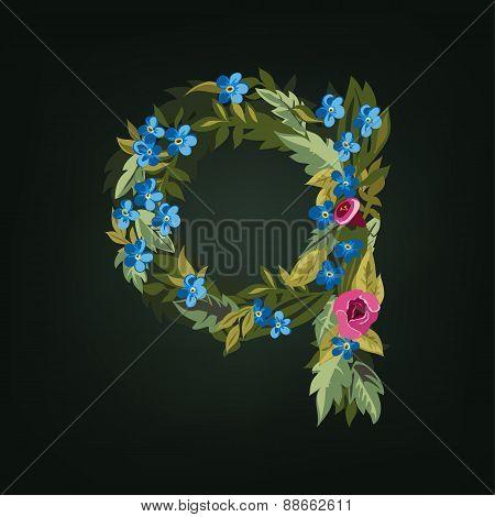 q letter. Flower  alphabet. Colorful font. Lowercase.