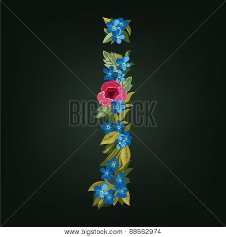 letter. Flower  alphabet. Colorful font. Lowercase.