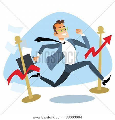 Businessman Running Breaks The Finish Tape Sales Schedule