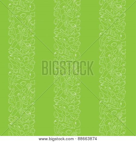 seamless vertical stripes of vegetables silhouettes