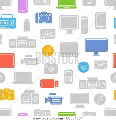 Different color media devices seamless pattern