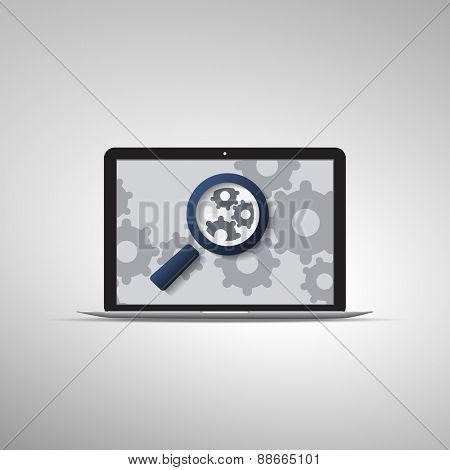 Analysis or Bugfix Symbol Concept with Magnifying Glass Icon and Gears on a Laptop Computer