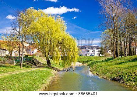 River Bednja In Ludbreg Springtime View