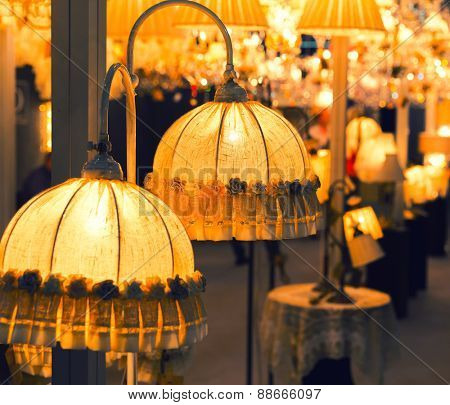 Table luxury lamp, yellow colors