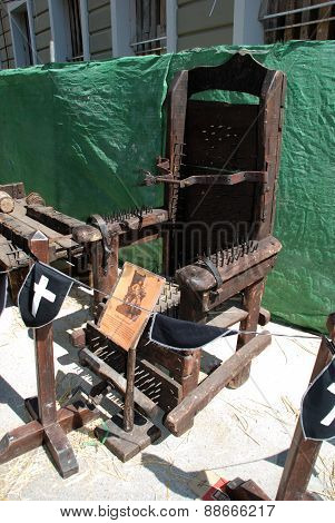 Medieval torture chair.