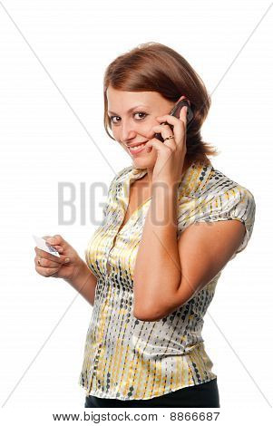 Girl With A Mobile Phone And A Credit Card