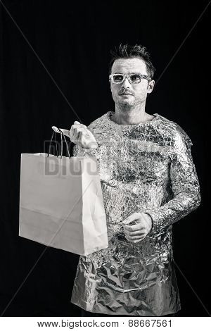 Alien Man With Shopping Bag