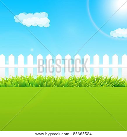 Summer Garden Scene With Wooden Fence And Blue Sky - Useful As Background