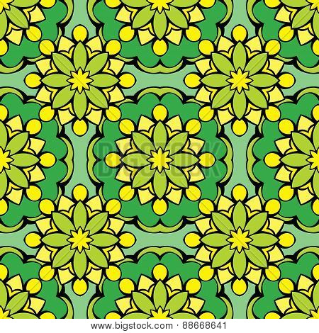 Squared Background - Ornamental Seamless Pattern In Green And Yellow Colors. Design For Bandanna, Ca