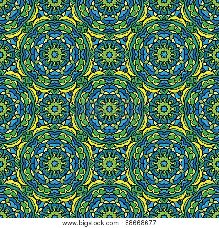 Squared Background - Ornamental Seamless Pattern In Green, Blue And Yellow Colors. Design For Bandan