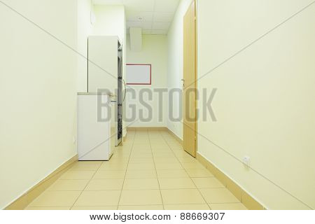 interior of a hospital hallway.